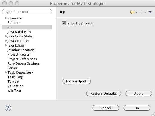Icy4Eclipse : my first plugin - properties